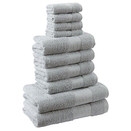 Highams Dreamscene Luxus 100% ägyptische Baumwolle 10-Teiliges Badezimmer Handtuch Bale Face Bath Hand Geschenk Set, Silber Grau, 10-tlg. (Handtücher)
