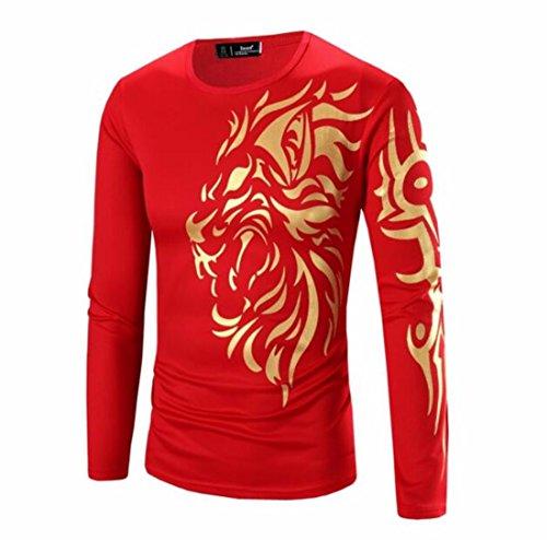 Men's 3D Bronzing Dragon Printed Long Sleeved Camisetas Hombre Tee Shirt red
