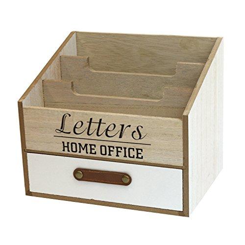 r mit 3 Fächer und 1 Schublade Briefablage aus Holz Stehsammler Organizer (Holz-schubladen-organizer)