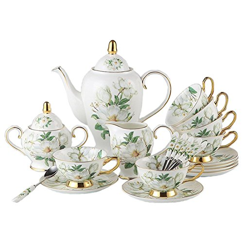 TouchLife 21 Pcs Bone China Ceramic 6 coffee cups with saucers and spoons,1 l000ml Coffee Pot,1 Milk Jug,1 Sugar Pot For Coffee and Tea,White and Green