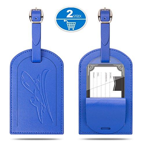 Kofferanhänger, Gvoo 1 Paar 2 Stück Reise Gepäckanhänger Taschenanhänger Luggage Tag Gegen Verloren aus Leder (Blau+Blau)
