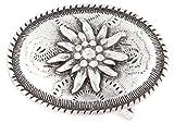 Veri Gürtelschnalle Edelweiß Buckle Gürtelschließe Blumen Floral Verzierung für Wechselgürtel Bayern Alpen Tracht antik Style zum Wechseln oval one size cm :