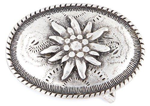 Blumen Edelweiss Gürtelschnalle Tracht : Gürtelschliesse Flora -- Buckle Blumen Farbe: silber