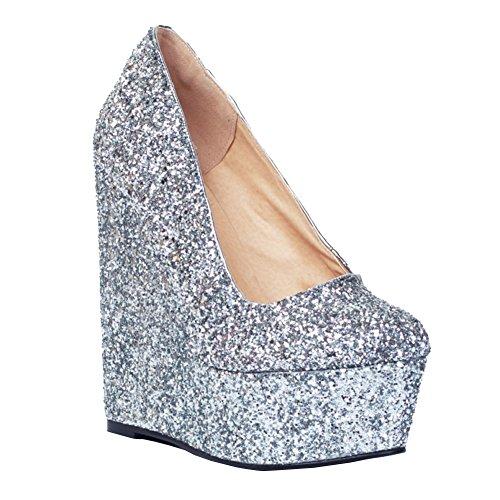 Kolnoo Damen Faschion 15cm Wadge Absatz Plattform Funkeln Beleg auf Partei Pumpen Schuhe Silver