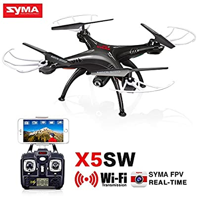 Syma X5SW RC 2.4G 6-Axis FPV Quadcopter Drone Helicopter Headless With HD Camera Wifi IOS&Android Sync Real Time Video Black