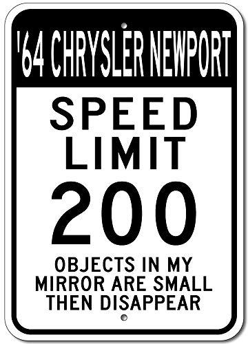 Lustiges Blechschild 1964 64 64 Chrysler Newport Speed Limit 200 Street Sign Aluminium Wanddekoration Blechschild -