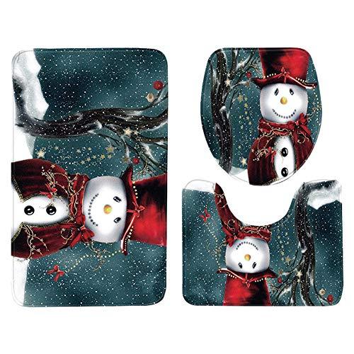 Milnut Weihnachten Badematten Set 3tlg Badezimmer Matte Badgarnitur Bad-Teppiche Wasseraufnahme Kombination Teppich für Wohnzimmer Schlafzimmer Toilet - Goldener Schneemann