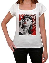 Japan pin-up, tee shirt femme, imprimé célébrité,Blanc, t shirt femme,cadeau