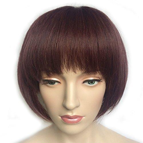 Namecute Kanekalon Cheveux synthétiques de remplacement des Perruques Vin Rouge court Bob Perruques avec une Frange pour femme résistant à la chaleur