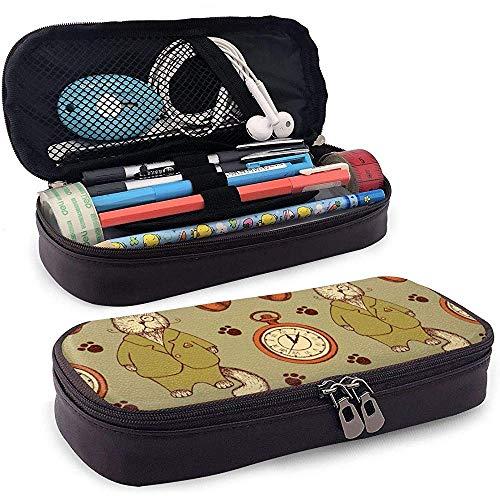 Skizze Katze im Anzug Rohr und Uhr Leder Federmäppchen Tasche mit Reißverschluss Stift Box, große Kapazität Briefpapier Box