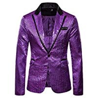 Kaister Coat Blazer Mens Charm One Button Fit Suit Casual Party Sequin Winter Jacket Purple