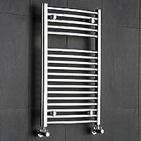 Hudson Reed - Radiador Toallero Diseño Curvo para Baño/Cocina - Acero Cromado - 800 x 500 mm - 407 Vatios - Calentador Toallas Decorativo - 18 Barras - Calefacción Central Agua - Montaje Mural
