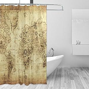 JSTEL – Cortina de ducha con diseño de mapa del mundo vintage resistente al moho y resistente al agua, tela de poliéster de 182,88 x 182,88 cm, para el hogar, extra larga, para baño, decorativa, para ducha, baño, con 12 ganchos