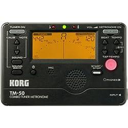 Korg TM50BK - Afinador crómatico para afinador con metrónomo (con Metrónomo), color negro