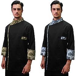 Chaquetilla de cocinero, abierta, de camuflaje, para cocinas, hecha en Italia, Hombre, gris, XL