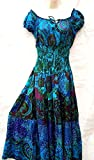 NikSim Collection BLUE green Summer Boho Multicolor floral Pure cotton Maxi length multitier Smocked Off Shoulder festival beach gypsy dress UK SIZE 10,12,14,16,18