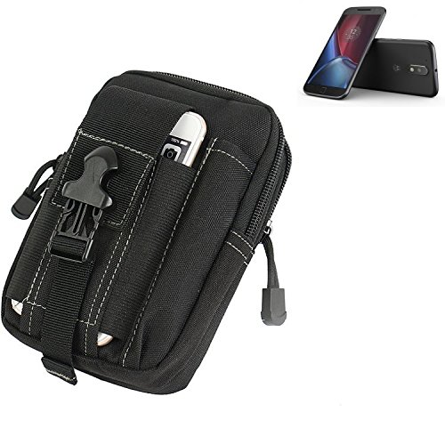 K-S-Trade Gürtel Tasche für Lenovo Moto G (4. Gen.) Plus Gürteltasche Schutzhülle Handy Hülle Smartphone Outdoor Handyhülle schwarz Zusatzfächer