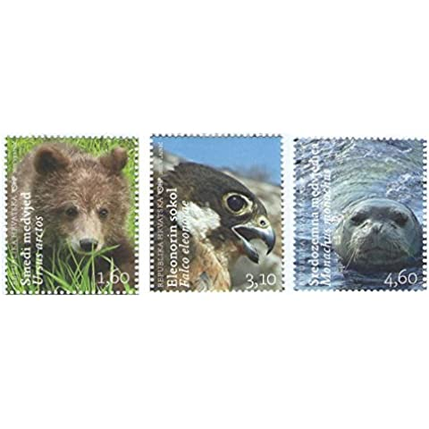 Tres sellos diferentes de Animals / Wildlife / Naturaleza - Juego de 3 sellos oficiales emitieron 2011 - Scott # 791-793 / Croacia / MNH