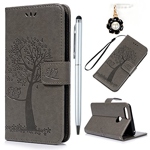 YOKIRIN Huawei Honor 7X Lederhülle Hülle Case für Huawei Honor 7X Flipcase Tasche Handyhülle Etui Eule Baum Muster PU Leder Schutzhülle Schale Kartenfächer Magnetverschluss Handyhalter Grau