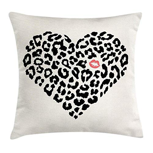 tgyew Kiss Throw Pillow Cushion Cover, Heart Shape Leopard Skin Pattern and a Kiss Mark Love Valentine's Day Honeymoon, Decorative Square Accent Pillow Case, 18 X 18 inches, Cream Black Coral -