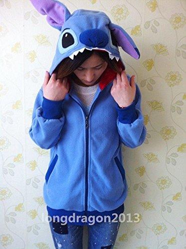Kigurumi Lilo & Stitch blue hoodie cosplay coat jacket,Größe XL: Höhe 170cm-175cm (Lilo Kostüm Für Erwachsene)