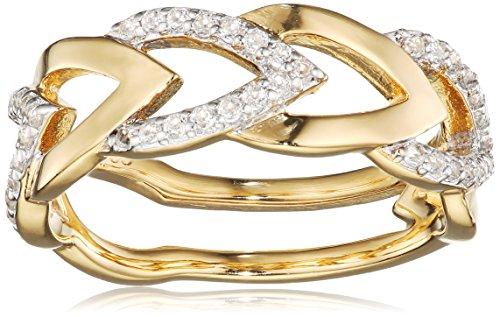 caï women Damen-Ring 925 Silber rhodiniert gelb vergoldet Topas weiß 50 (15.9) C1808R/90/93/50