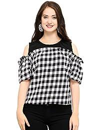 vrati fashion Women's Plain Regular Fit Top(checks-white)