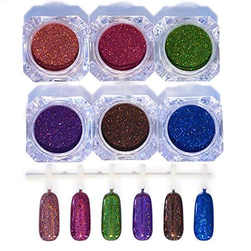 NICOLE DIARY Laser Holographique Nail Poudre Chrome Nail Glitter Dust Pigment Superbe Holo Effet Tendance De Mode Nail Art Pigment Manucure Décoration (1g, Rose Rouge)