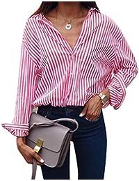 GUOCU Mujer Blusa Camisa - Manga Larga - Rayas - Cuello EN V Profundo - Gasa - Elegante y Moda