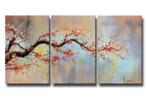YEEHOR 3 Panel leinwand wandkunst Blume ölgemälde auf leinwand orange Plum Blossom druckplakat ölgemälde Bild Dekoration Geschenk 35x50cmx3pcs rahmenlose -