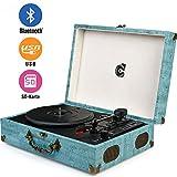 Wockoder Turntable Vinyl Plattenspieler Koffer Vintage Retro Bluetooth USB Nostalgie Schallplattenspieler mit Lautsprecher Riemenantrieb Aux-In RCA 33/45/78 U/min tragbar Holz Türkis