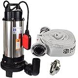Agora-Tec® AT- Baupumpe-C 1300W (mit Schneidwerk) Tauchpumpe für Schmutzwasser, Abwasser, für Fäkalien und organische Feststoffe mit Schwimmerschalter und max: 1,05 bar und max: 17500l/h inklusive C - STORZ Kupplung und (C-Schlauch: 10 Meter)