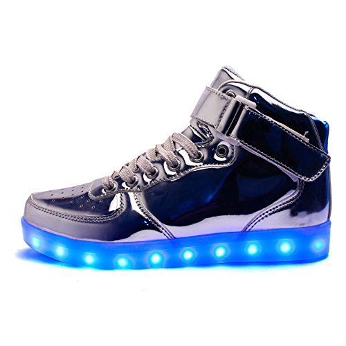 Galopar USB Chaussures LED High Top Hommes Femmes Light Up Chaussures de charge USB Clignotant Sneakers Or Argent Silver