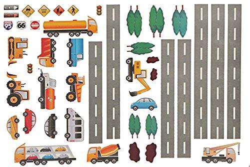 Unbekannt 45 TLG. Set: XXL Wandtattoo / Sticker - Straße mit Auto ´s zum Spielen ! - Wandsticker Aufkleber Auto Fahrzeuge (Spiel Auto-aufkleber)