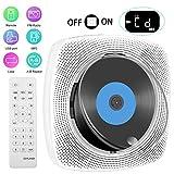 Lettore CD portatile, lettore CD Bluetooth montabile a parete, altoparlante HiFi integrato, lettore musicale con telecomando, radio FM e lettore USB