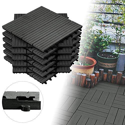 Froadp 11 Stück WPC Kunststoff Fliesen Wasserfilterbar Terrassen- & Balkonfliesen Zusammenbaubar Holz Optik Garten Klickfliese Gesamt ca. 1m²(30x30cm/Stück, Anthrazit)