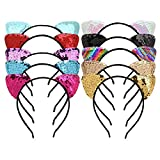 Acerca de Cat Ears Hair Band:  El paquete Mwoot incluye: 10PCS con bandas de lentejuelas de diferentes colores.  Material: aleación, terciopelo, lentejuelas, tela. Diámetro: aprox. 12 cm / 4.7 pulgadas  Altura: aprox. 14.5 cm / 5.7 pulgadas  ...