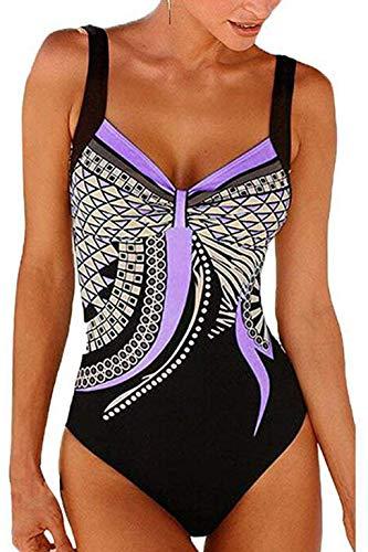 LAIMEIAO Damen Badeanzug/Badeanzug mit Tribal-Print, einteilig, gepolstert, Push-Up, Monokini - violett - Small (Tribal Print Badeanzug)
