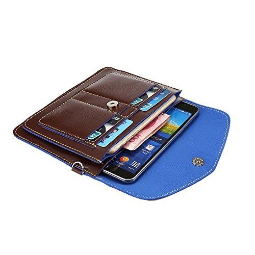 meaci (TM) multifonction en cuir PU Téléphone manches Housse Sacoche Pochette Sac à Main Portefeuille avec dragonne bandoulière & cartes de crédit pour Taille d'écran pour smartphone sou