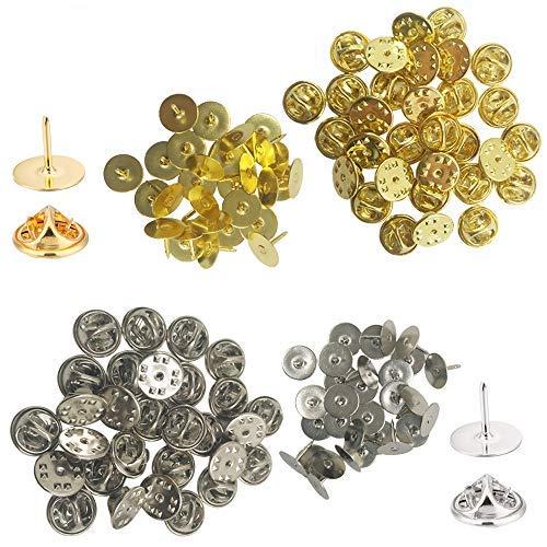 60Stück Schmetterling Kupplung mit blanko Pins, yucool Pin Rücken Krawatte Nägel Ersatz für Craft & Jewelry making-silver Gold