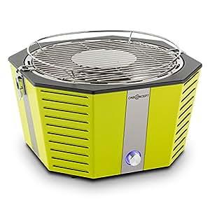 oneConcept Wolkenlos Grill Holzkohlegrill (tragbarer Picknick Grill, rauchfreies Schnellstarter-System, Grillhitze in 3-4 Minuten, Ø 31 cm, Cool-Touch-Gehäuse, Tragetasche) grün
