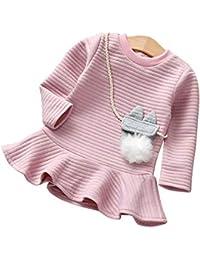 K-youth Ropa De Bebe Niña para Invierno Vestido de niña Rayas Lindas Vestido de Princesa de Manga Larga para niñas Vestidos De Fiesta para Niñas Elegantes Vestido Bebé Niña