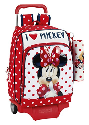 Minnie Minnie Mouse Zaino, 42 cm, Multicolore (Rojo Y Blanco)