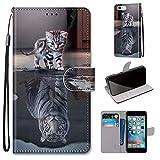Miagon Flip PU Leder Schutzhülle für iPhone 6S / 6,Bunt Muster Hülle Brieftasche Case Cover Ständer mit Kartenfächer Trageschlaufe,Katze Tiger -