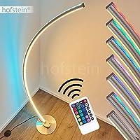 Lampada da terra a LED Scar RGB in metallo nichelato opaco, lampada da terra con telecomando e cambiacolori, lampada da terra per soggiorno, camera da letto