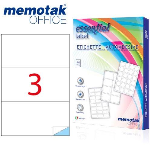 Packung mit 100Blatt A4Etiketten Aufkleber memotak Format in mm 210x 99100Etiketten für Behälter