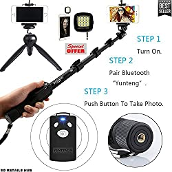 SG Retails Hub YT-1288 A Bluetooth Selfie 3 In 1 Combo Offer 1 Pcs Adjustable Monopod Stick AND 1 Pcs Selfie Flash Light for Smartphones with Bluetooth Remote Combo Compatible with Nikon, Cannon, Sony DSLR, Apple, Samsung, Htc, Lenovo, Oneplus, Motorola, Nexus, Xiaomi Redmi Note 3 ETC.