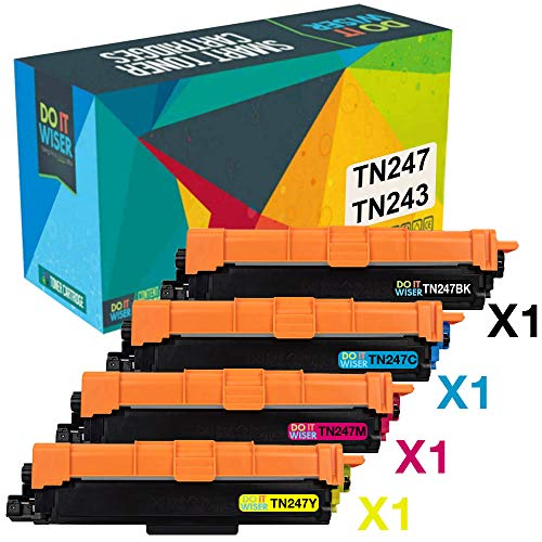 Do it Wiser Cartouches de Toner Compatibles TN247 TN243 pour Brother DCP L3550CDW DCP L3510CDW MFC-L3750CDW MFC L3710CDW MFC L3750CDW HL L3230CDW HL 3210CW HL L3270CDW (Pack de 4)