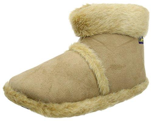 Neue Mens Kühler Marke Snugg Boot Slipper Microsuede Äußeren mit dicken, flauschigen Kragen und Futter - Langlebige Sohle. Passen UK Schuhgrößen 7-8 / 9-10 / 11-12 Beige