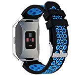 Kobwa souple en silicone Sport Bande de remplacement avec orifices de ventilation pour Fitbit Ionic Smart Watch Bands Femme pour homme